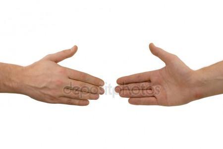 depositphotos  stock photo two hands before handshake